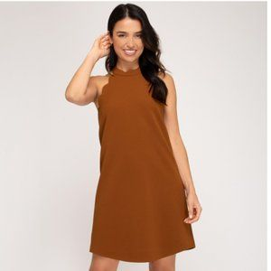 She + Sky Textured Knit Dress w/ Scalloped Detail
